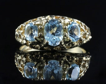 Aquamarine Gold Ring Trilogy Of Aquamarines 9ct Gold