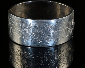 Antique Victorian Silver Bangle Wide Cuff Bangle Dated 1884
