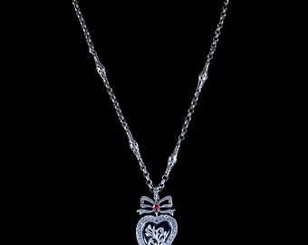 Antique Georgian Pendant And Chain Silver Witches Heart Blue Enamel Fancy Silver Chain