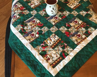 NEW Hand quilted, Christmas, Nine Patch, Bear, Snowman, Green Christmas, Christmas Decor, Table Runner, Holiday Linen, Tablecloth