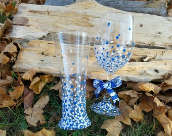 Indianapolis Colts inspired His Hers wine glass and pilsner beer glass set,  Colts wineglass and pilsner glass set, Colts gift set