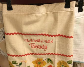 Beauty in the world Kitchen Towel Apron Skirt...Wear With or Without Your Favorite Apron