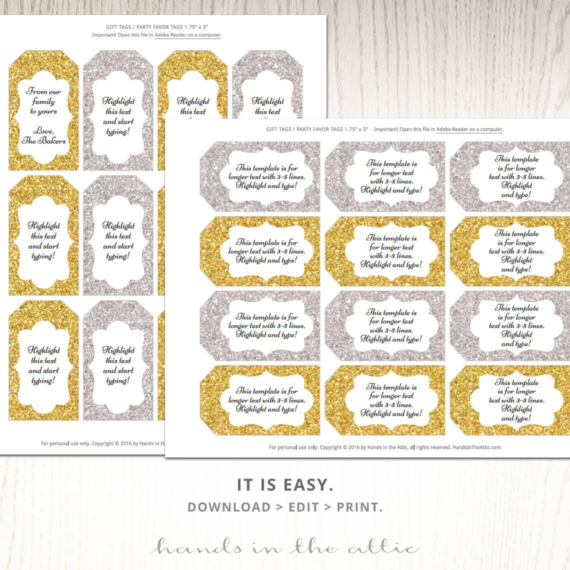 Resource image with gold printable labels