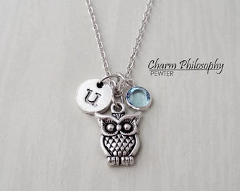 Owl Necklace - Owl Baby Shower Gift - Personalized Initial and Birthstone - Antique Silver Jewelry