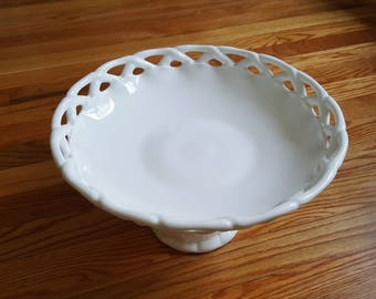 White Milk Glass large fruit bowl lattice edge pitman dreitzer colony