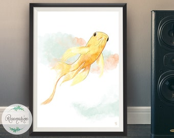 Printable art, Japanese Koi fish, Watercolor printable, Wall art poster, Minimalist art