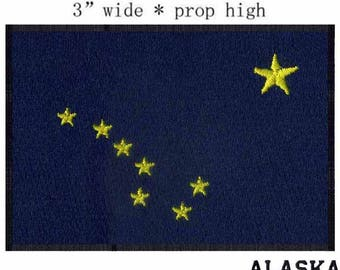 State of Alaska Flag Iron On Patch 3 x 2 inch Free Shipping (Medium)