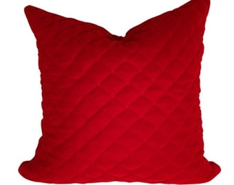 Red Velvet Pillow Cover, Quilted Fabric Pillow, Velvet Pillow, Glam Pillows, 16, 18 inches, 20 Inches