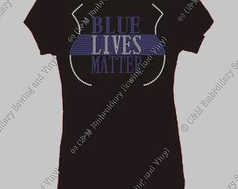 Blue Lives Matter Rhinestone Heel Ladies T-Shirt, Personalized T-Shirt, Women's T-shirt,  Ladies Tee