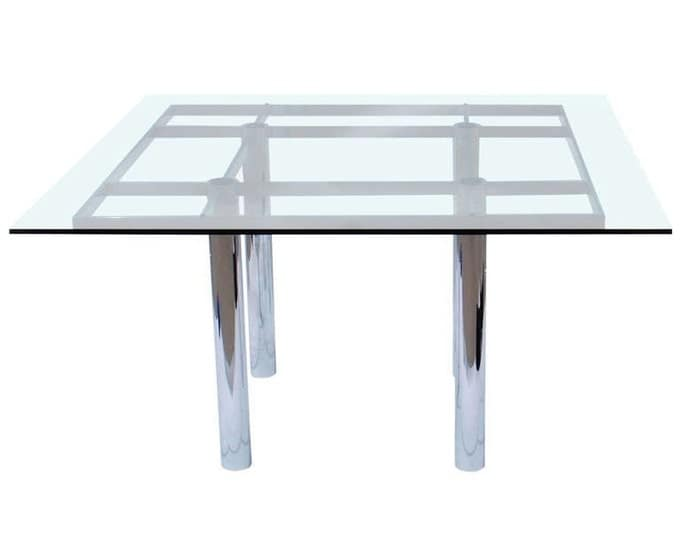 Knoll Square Chrome and Glass Dining Table