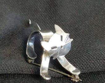 3D Sterling silver Cat Brooch, Sterling Standing Cat Pin, Pouncing Cat Brooch, 925 Silver Cat Jewelry Modernist Silver Cat Art Pin Cat lover