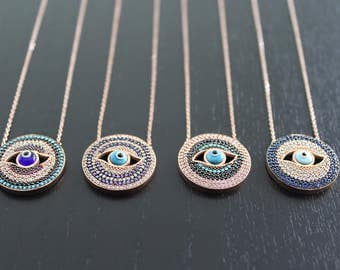 Round Evil Eye Rose Gold Necklace