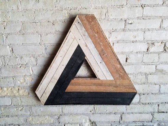 Reclaimed Wood Wall Art, Decor, Lath, Penrose Triangle, Geometric Pattern, Escher