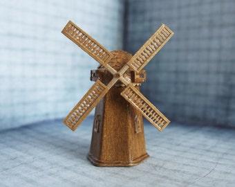 Vintage windmill miniature - paper sculpture - European windmill - paper artwork – Holland – Europe - windmill art - ornament