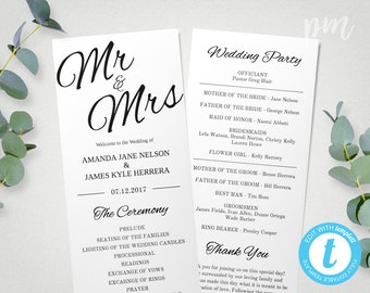 Printable Wedding Program Template Mr & Mrs , Instant Download Ceremony Program, Edit in Our Web App, Clean and Cursive, Tea Length Program
