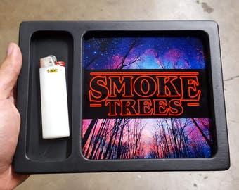Smoke Trees Stranger Things Spoof rolling tray printed with scratch and heat resistant ink - cannabis, potleaf, 420, weed, lsd