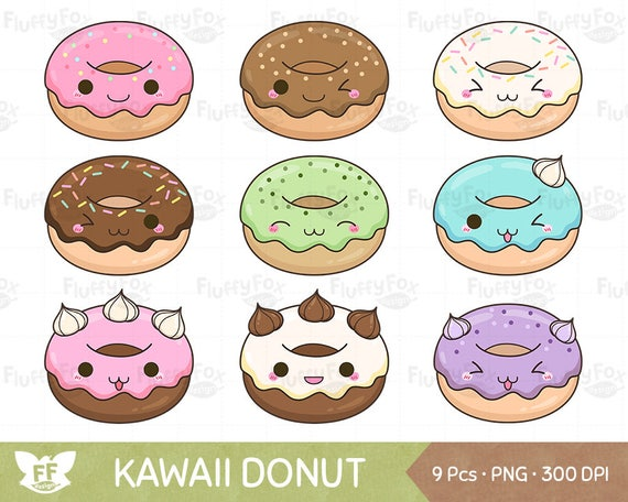 Kawaii Donut Clipart Food Clip Art Snack Sweets Cute Pastry