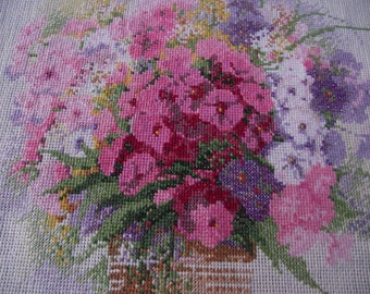 Finished completed Cross stitch Handmade embroidery Gift Embroidered still life vase of flowers Phloxes Very beautiful and gentle Picture