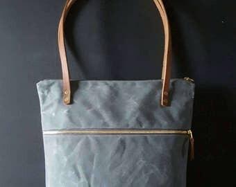 Waxed canvas double zipper shoulder bag - Charcoal