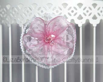Flower Girl Bridal Bridesmaid Prom Cream Lace And Pink Ribbon Flower Hair Corsage Wedding Accessories Hair Clip