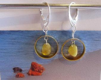 Amber Earrings 1.9 gr. Natural baltic beads metal ring Silver color french clasp yellow egg yolk butterscotch chandelier for adult Teens