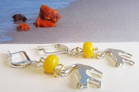 Cat 100% Natural Baltic #Amber  yellow beads opaque #Earrings  3.8 gr.