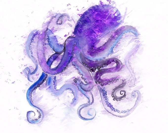 Featured listing image: Octopus Watercolor Illustration, Purple Octopus, Ocean Organisms, Sea Animal Kingdom, Nautical Art Theme, Deep Sea Blue