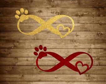 Pet infinity decal, infinity pet love decal, infinity decal, pet decal, glitter pet decal, paw print decal, heart decal, yeti pet decal