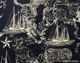 Nautical Maps, White-Lined Ships/Anchors on Navy Blue Background by Brother Sister Design Studio, 100% Cotton