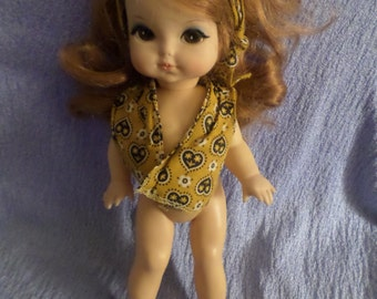 """Red hair doll Royal 1965 Long Big brown eyes liner play puffy cheeks 11"""" Mod looks arms legs movable scarf groomed ginger firey girl d"""