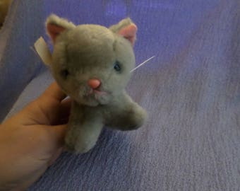"Russ Gray Kitten Cat plush Blue eyes 4"" pink nose mouth NWT Vintage Little Kitty small"