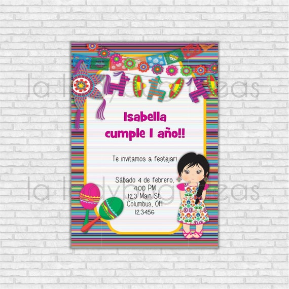 Invitaci n de cumplea os fiesta mexicana para imprimir - Fiesta de cumpleanos para nina ...