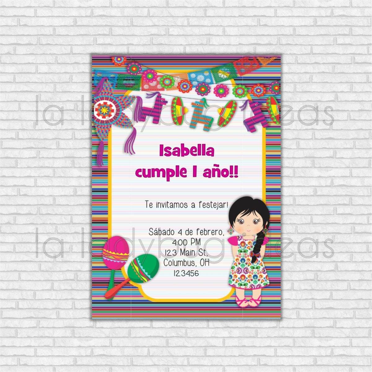 Invitación de cumpleaños fiesta mexicana para imprimir