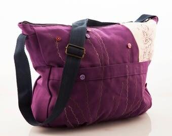 Travel bag fabric, Women messenger bag, Canvas bag travel, Overnight women bag Large travel bag Fabric purse Gift for women Travel bag women