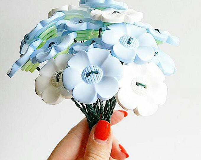 Big baby blue and white daisy bouquet