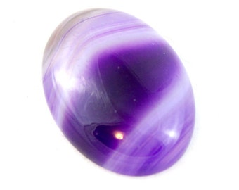 Purple Agate Cabochon. Purple Stone Cabochon. Purple Oval Cabochon. Purple Cabochon for Bead Embroidery. Cabochon With White Lines 25mm x 18