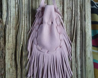 Pink Medicine Bag Necklace * Pink Leather Medicine Bag * Pink Medicine Pouch * Fringed Medicine Bag * Crystal Pouch * Neck Bag
