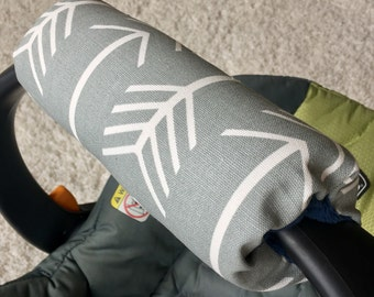 Grey Arrows Arm Pad for Infant Car Seat Handle, Grey Arm Pad, Arrows Arm Pad, Grey Arrows Arm Cushion for Car Seat Handle