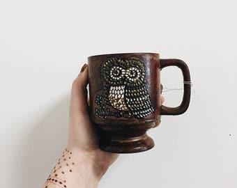 Vintage Owl Mug / Handmade Owl Mug / Owl Decor / Vintage Hand Painted Mug