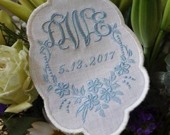 Wedding Dress Label, wedding gown patch, Something Blue,  Wedding Monogram