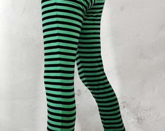 Green and Black Striped Cotton Leggings  Size M