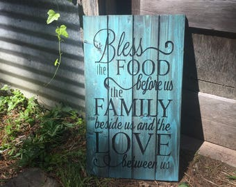 Carved Bless the Food Family Prayer - Rustic teal decor - family blessing - dinning room decor