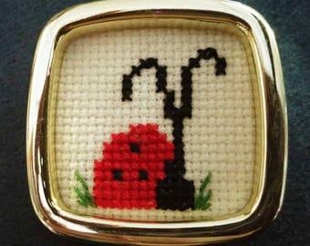Counted cross stitch magnet ladybug