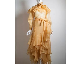 Rare vintage silk tiered organza romantic FONG LENG floating  2pc suit