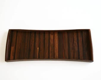 Don Shoemaker Long Rosewood Bow Serving Tray Tessellated Exotic Wood