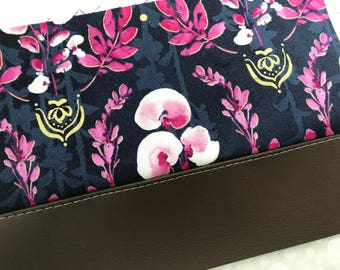 Purple Orchid Clutch with Faux Leather