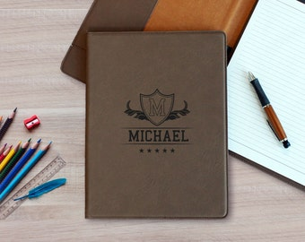Personalized Leather Notepad, Custom Leather Notepad, Leatherette Notepad, Custom Leather Folder. Leather Folder --LNP-DB-MICHAEL