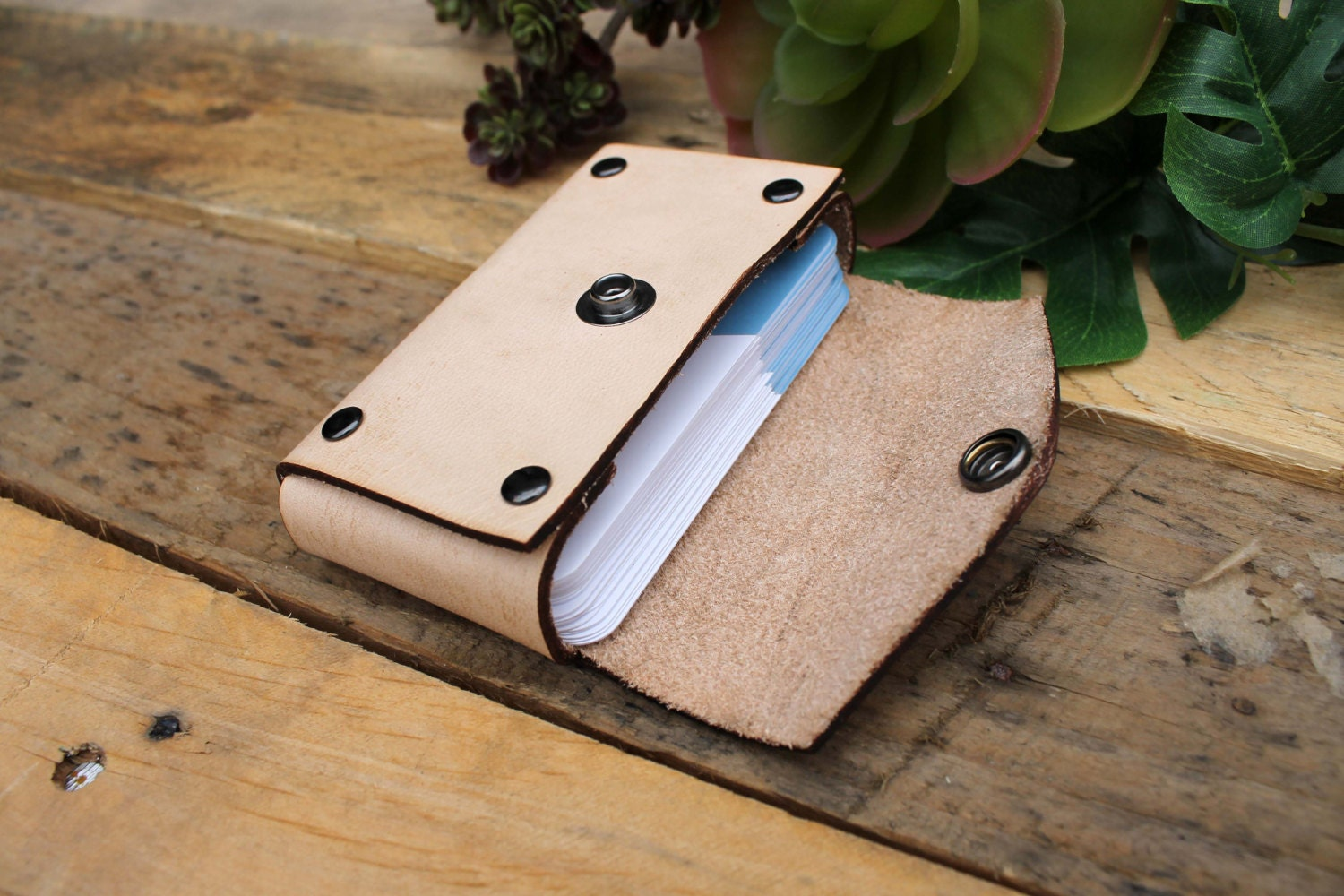 Genuine Leather Business Card Holder, Personalized Business Card ...