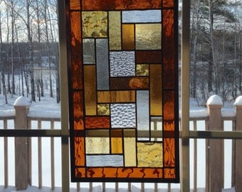 SALE! Stained Glass Windows, Stained Glass Panel, Amber and Yellow Stained Glass, Suncatcher, Glass Home Decor, Tiffany Glass Window, geomet