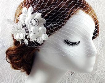 Veil, Flower Birdcage Veil, face Veil, wedding hair clip, Wedding Veil, bridal Veil, Wedding Flower Veil, Bridal bird cage veil V15008